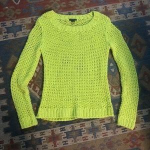 Theory Neon Yellow Open Knit Wool Sweater